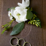 Ranunculus boutonniere and rings