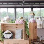 card table with peonies and greens