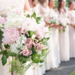 light pink, blush whites and greenery bouquet